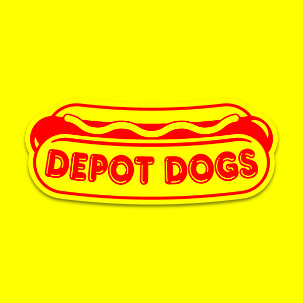 Logo redesign for Harwich, MA's Depot Dogs hot dog stand.