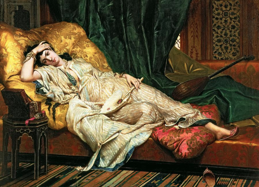 """Odalisque With A Lute"" by Hippolyte Bertaux"
