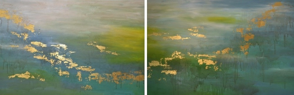 Sunshine on the river suffused in hazy golden light 95 x 265 cm