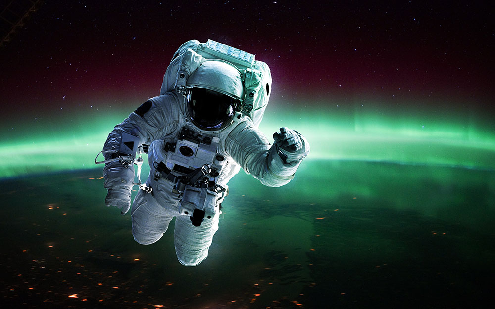 Image, astronaut floating in space