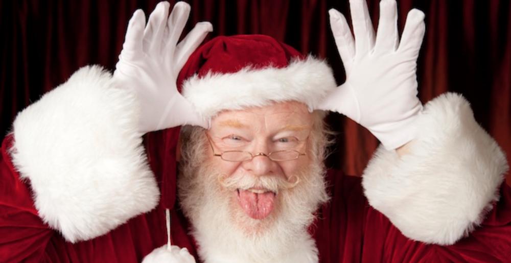 Santa pulling faces