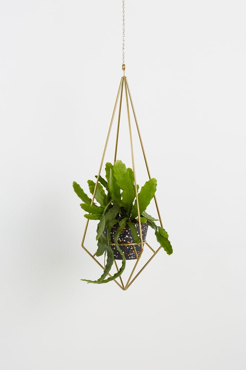 BRASS DIAMOND PLANT HANGER -