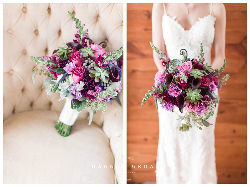 succulents purple flowers bridal bouquet