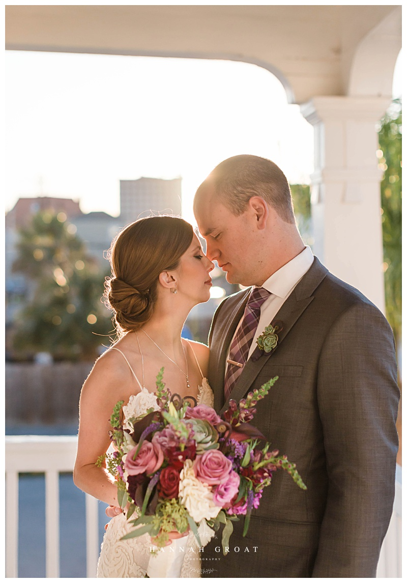 sunset galveston wedding bride and groom photo