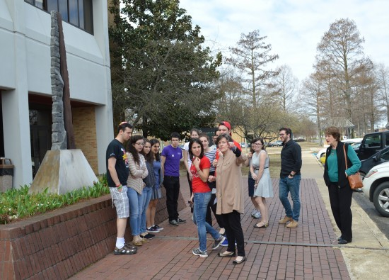 The Delta Center for Culture and Learning's Lee Aylward, center, recently provided a tour to the Hillel Group from the University of Maryland.