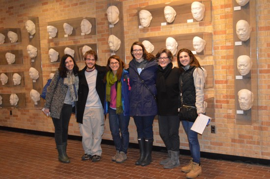 "Lee Aylward (second from right) of the Delta Center for Culture and Learning recently hosted a tour for the Hillel Jewish student group from the University of Virginia. They visited various Delta sites, including the ""Cast of Blues,"" a collection of 54 blues masks found in the lobby of Ewing Hall at Delta State."