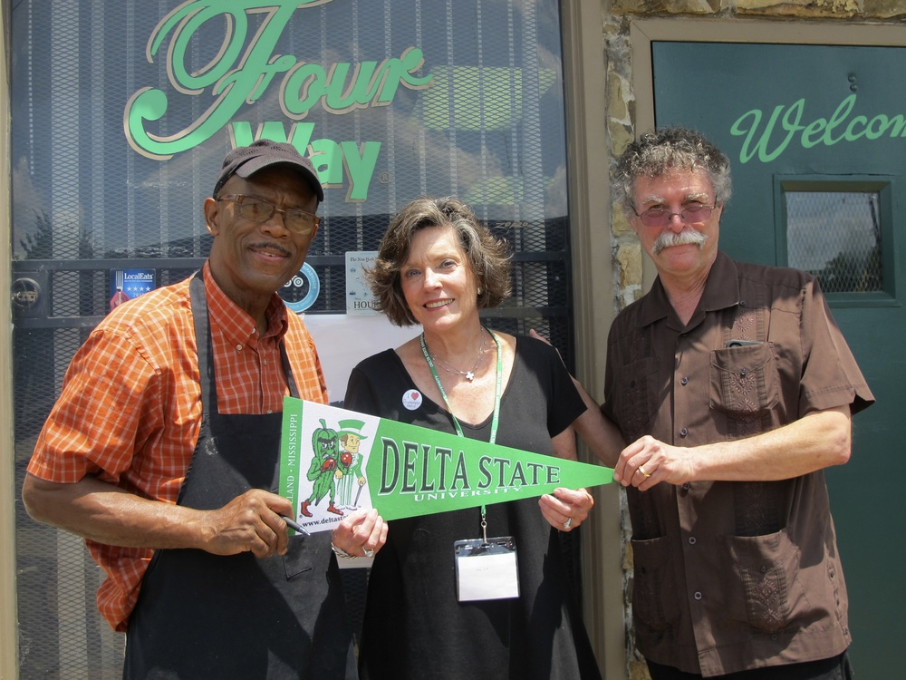 Photo: Restaurateur Willie Bates and the Delta Center's Lee Aylward and Luther Brown in front of the Four Way Grill, 998 Mississippi Blvd, Memphis, TN 38126. Photo by Rachel Anderson.