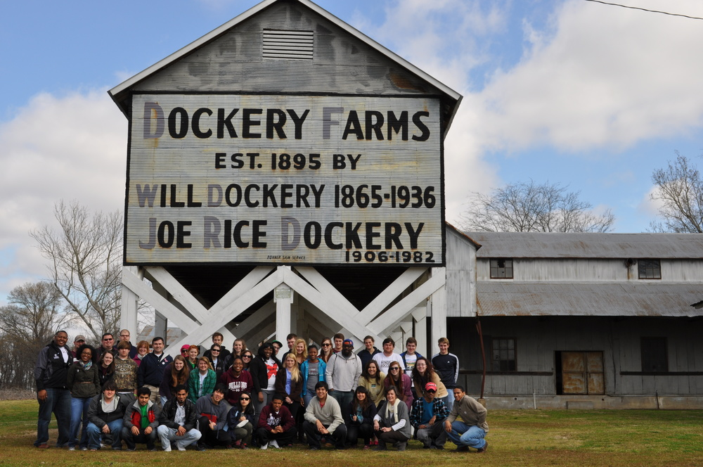 PHOTO: The combined classes from Mississippi State University and the University of Mississippi at Dockery Farms. Photo by Cade Smith, Student Leadership and Community Engagement Director at Mississippi State University.