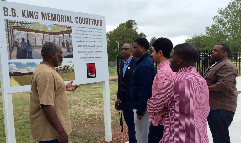 Robert Terrell talks with NOMAS members about plans for the B.B. King Memorial Courtyard.