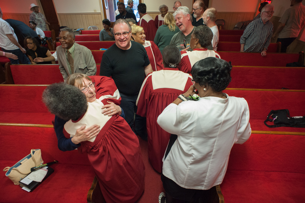 Congregation members greet the group during the service at New Bethel Missionary Baptist Church in Clarksdale.