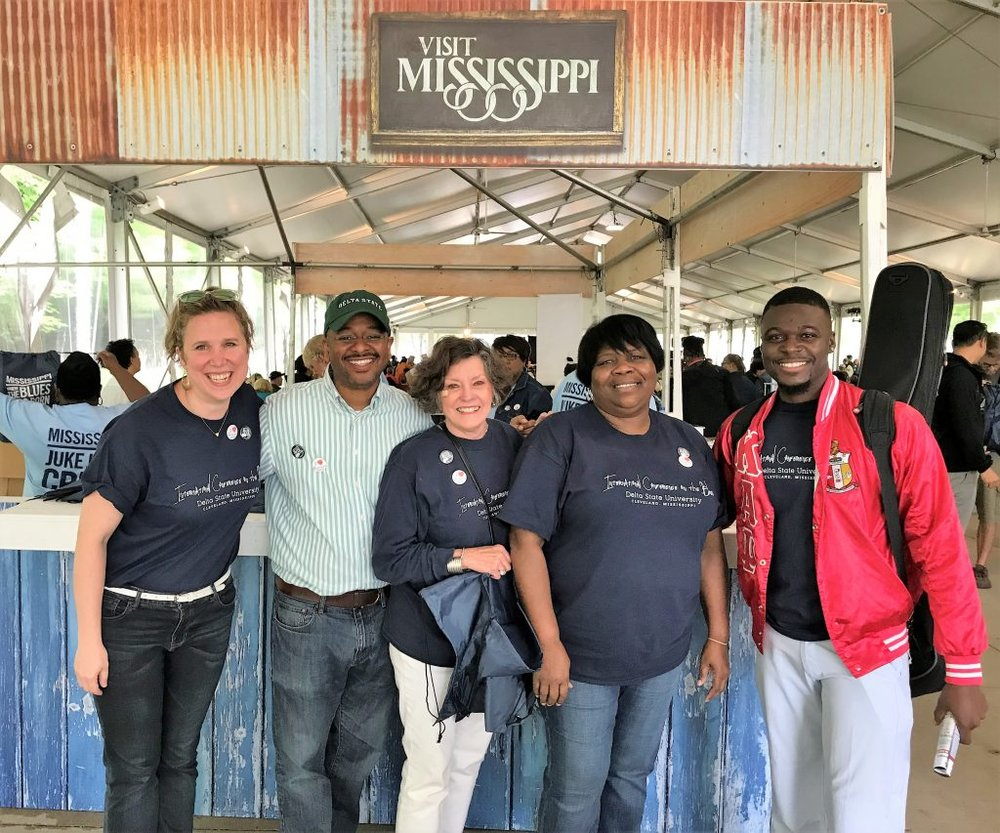 Delta Center/MDNHA team members (left to right) Sarah Hicks, Dr. Rolando Herts, Lee Aylward, Shelia Winters, and Keith Johnson at Visit Mississippi's Juke Joint Tent, Chicago Blues Festival.