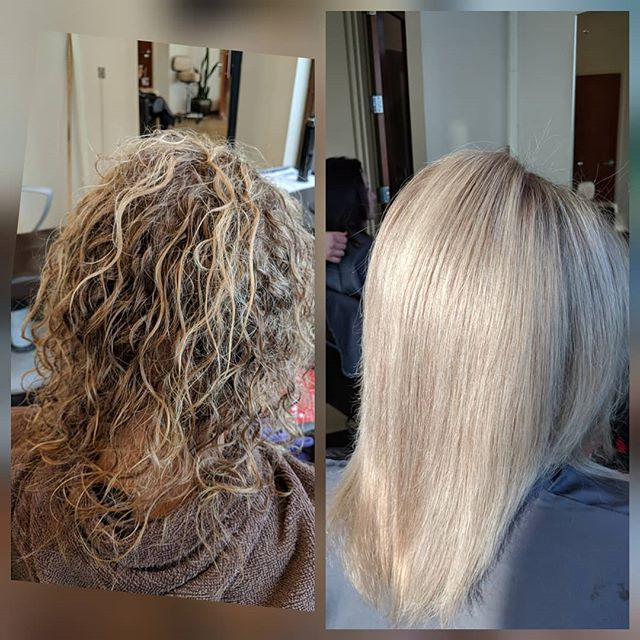 A nice Keritin Express treatment for this lady. Now she will have 6 weeks of frizz free hair💚💛🧡super fast to blowdry now for her . . . #keritincomplexblowout #keritinexpress #olaplex