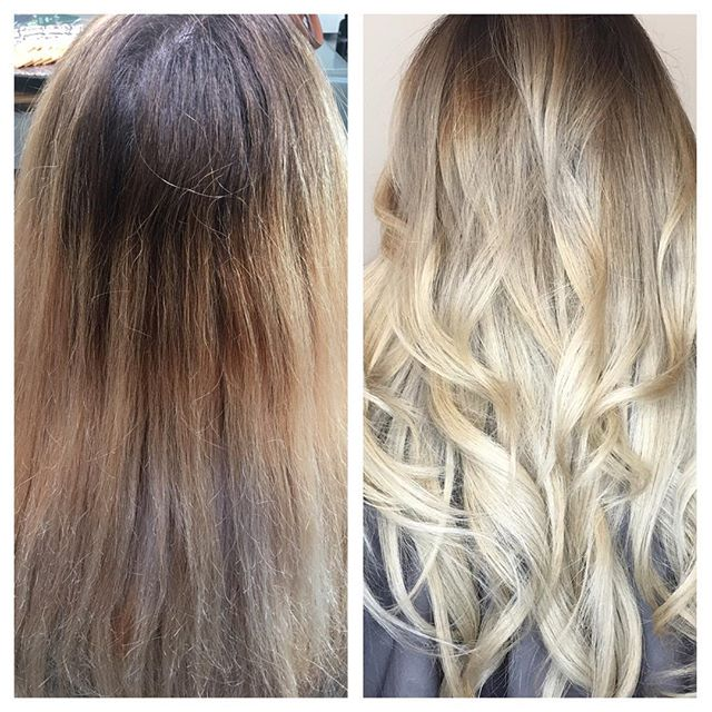 Color corrections can be tough and time consuming, but totally worth the hard work! Beautiful milky blonde 😍😍😍 #wella #wellaeducation #reneefurterer #blondor #blondorclub #blondorwella #blondehighlights #hair #highlights #modernsalon #americansalon #behindthechair #augusttanaz #blondehair #blondie #colorcorrection