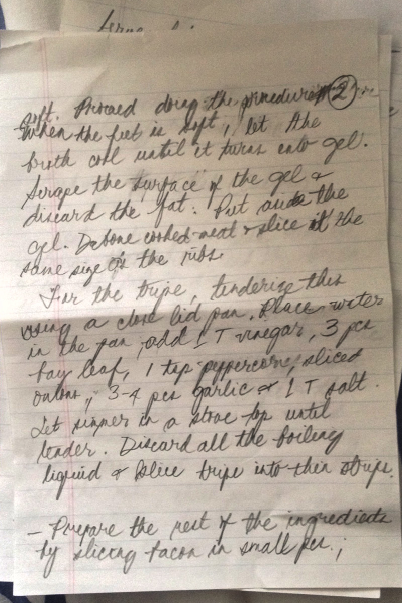 iPhone shots of my mom's handwritten   callos   recipe. She calls this version of the stew the Canadian version, or more aptly, 'Joyce's Version'.