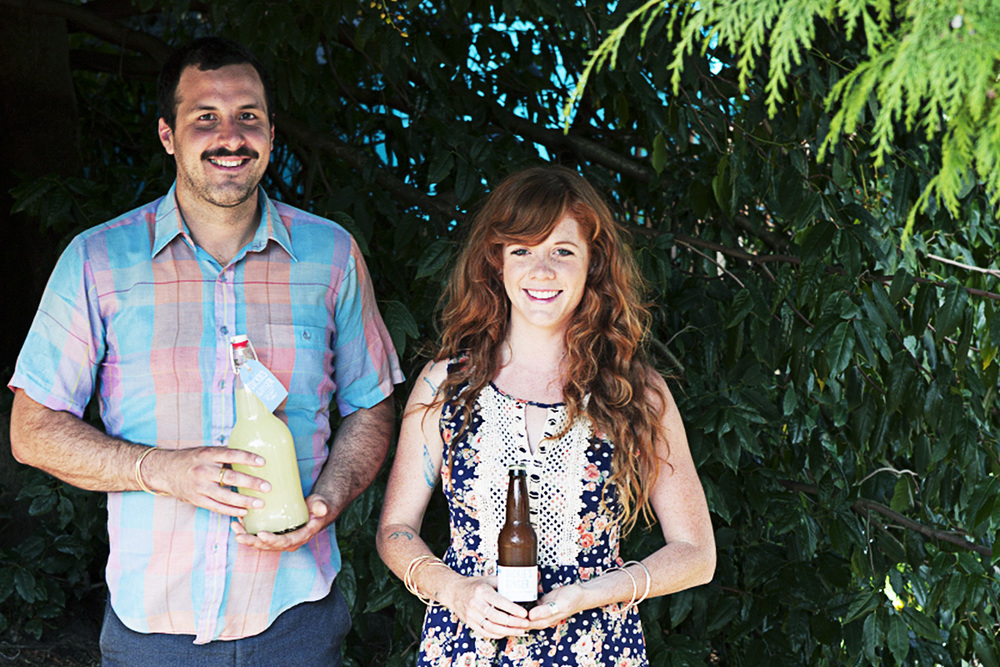Stephen and his girlfriend, Georgia, sporting bottles of Dickie's Ginger Beer.