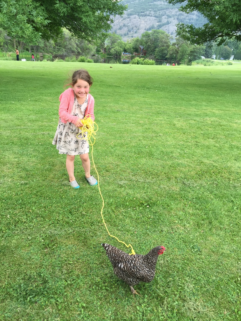 Lola flaunts her new pet chicken...