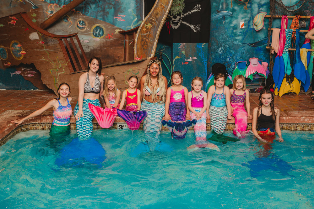Mermaid Club - Join the club every 3rd Saturday of each month. 2 - 4 p.m. or 3 - 5 p.m.Cost: $45/mermaidIncludes:- 1 hour creating a Mermaid-Work-of-Art- 1 hour in the pool, wearing mermaid tails*- Our resident mermaid teacher instructs the young mermaids on all of the latest & greatest mermaid tricks, & plays mermaid games.*Must be a 6 years old or a strong swimmer to be in Mermaid Club.Reservation Required.