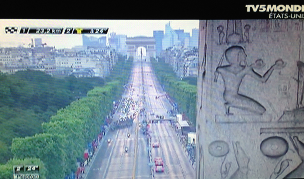 View of the Tour de France from the Place de la Concorde and the obelisk looking at the Arc de Triomphe.
