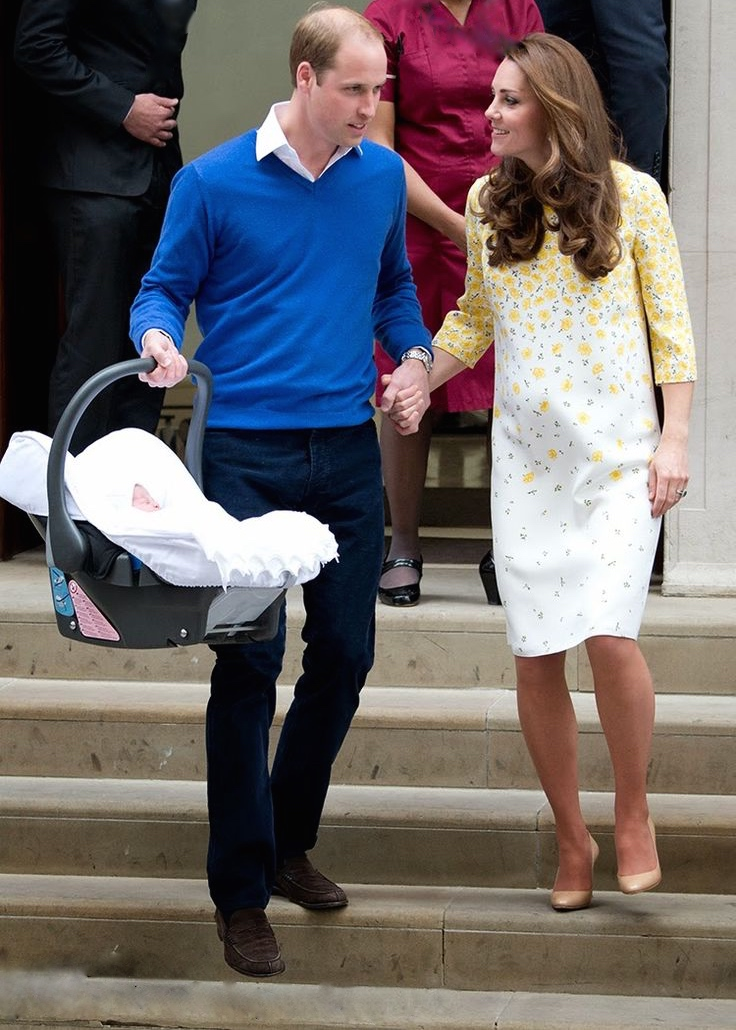 The Duchess of Cambridge in a bespoke Jenny Packham dress after delivery of her daughter.