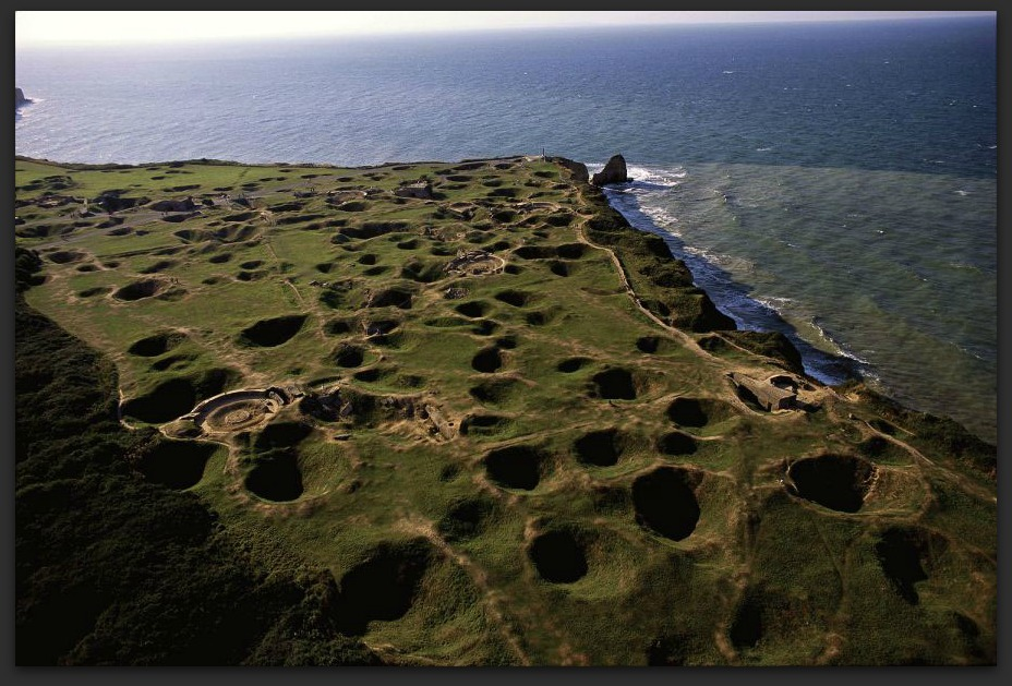 D-Day beaches with craters from bombings – pointe du hoc