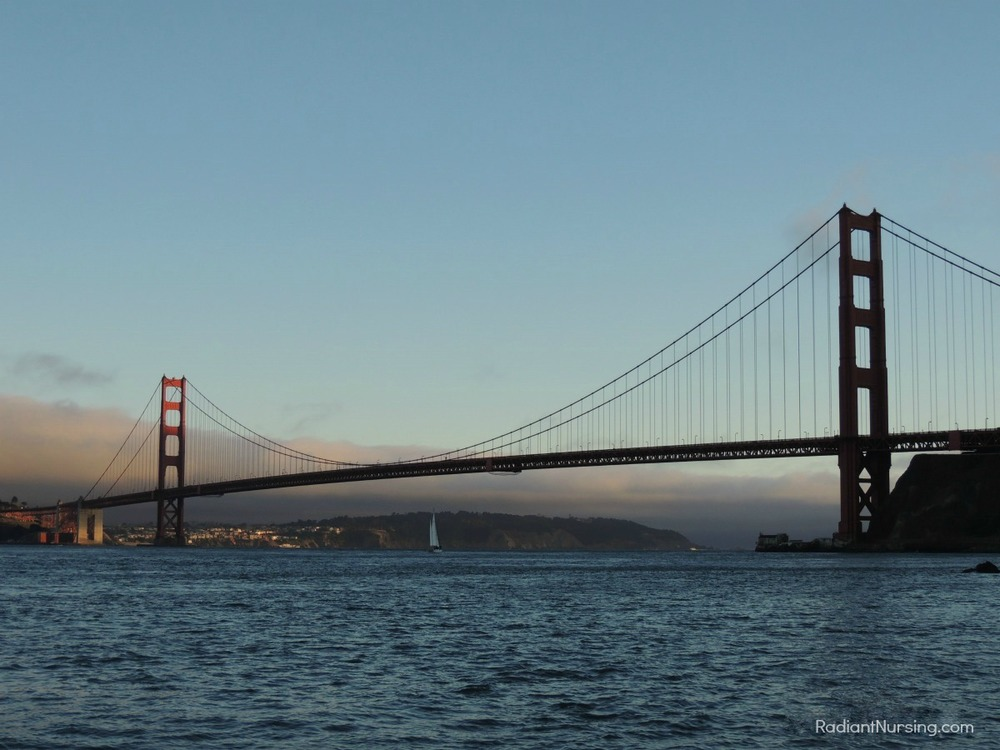 The Golden Gate Bridge in San Francisco at sunset.