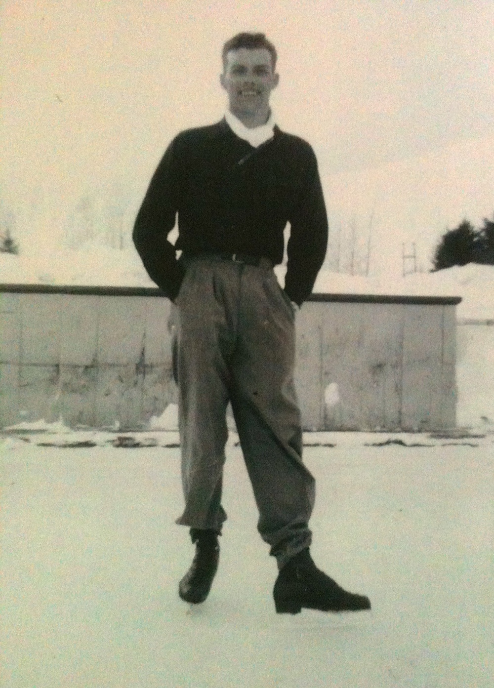 Dad on ice skates in his youth