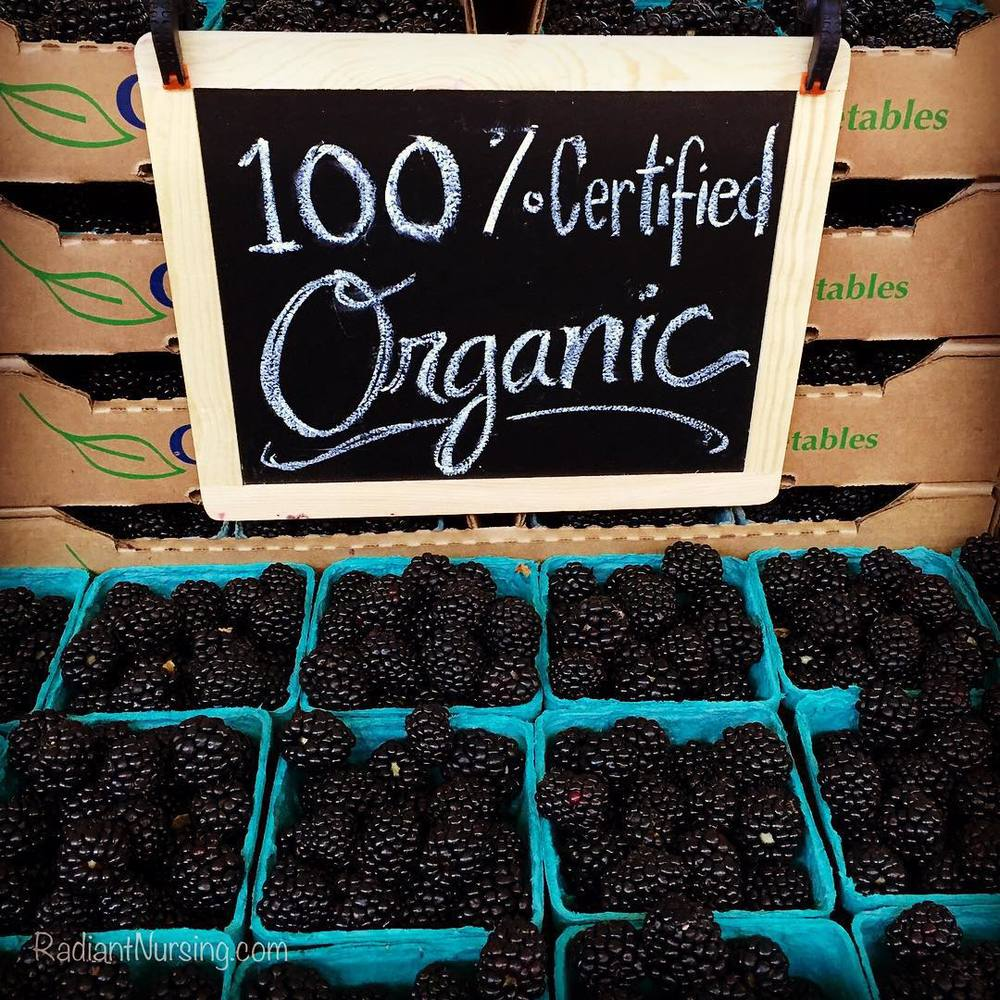 Organic blackberries at the Davis farmers market.