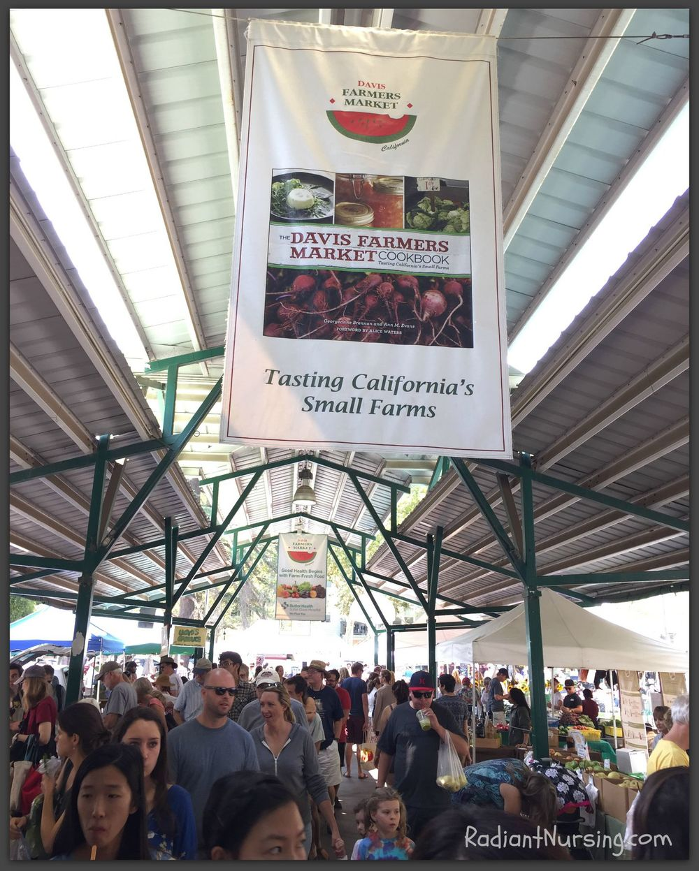 Davis Farmers Market in Davis, California offers a wide variety of seasonal and organic fruits, vegetables and foods.