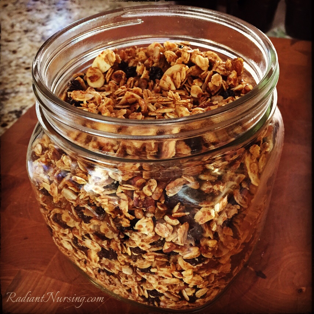 Homemade crunchy granola sweetened with maple syrup. See the recipe.