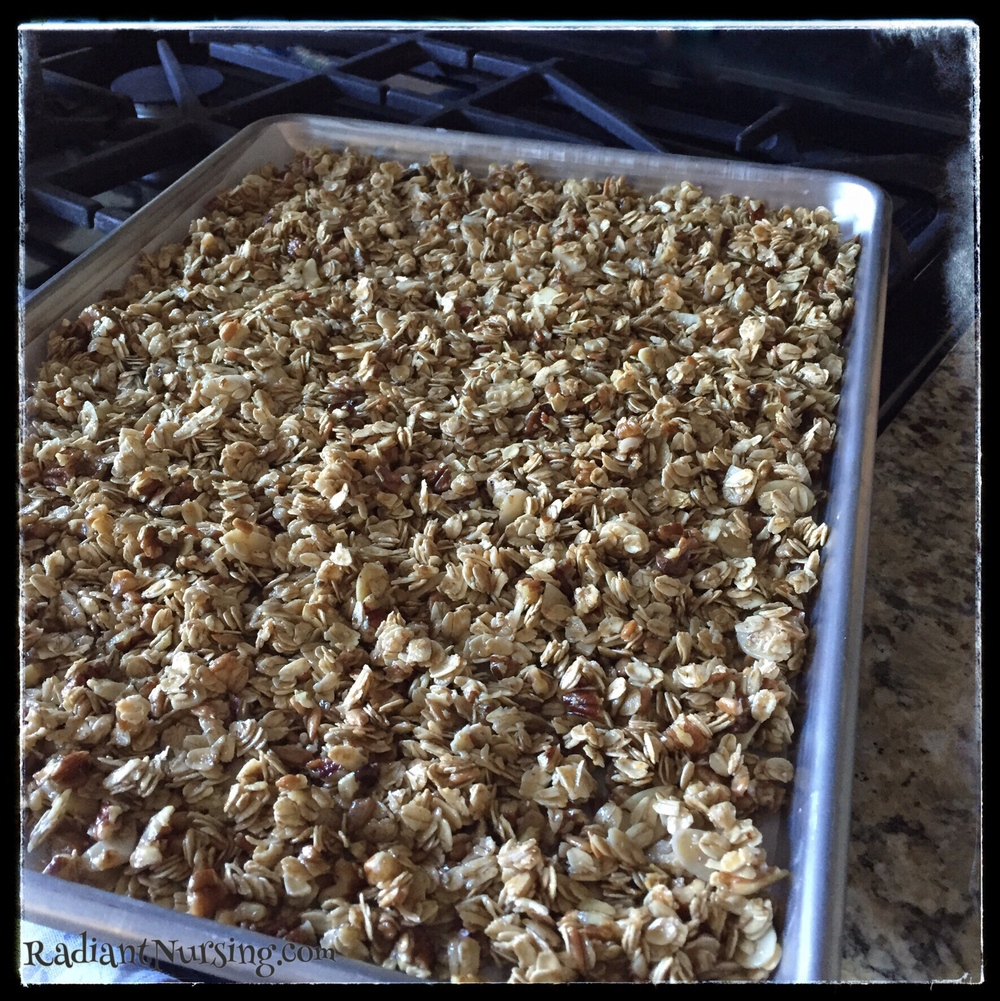 Crunchy Granola ready for baking. A good snack for back-to-school.