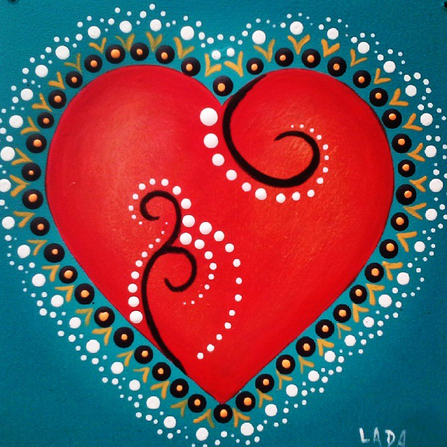 Artwork of hearts by Lada Ladik. Let your heart sing.