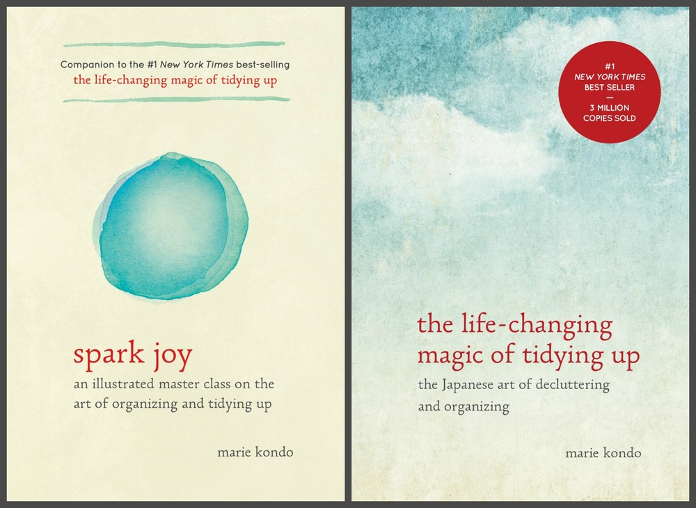 Books by Marie Kondo with good advice on how to declutter and tidy up in your own life.