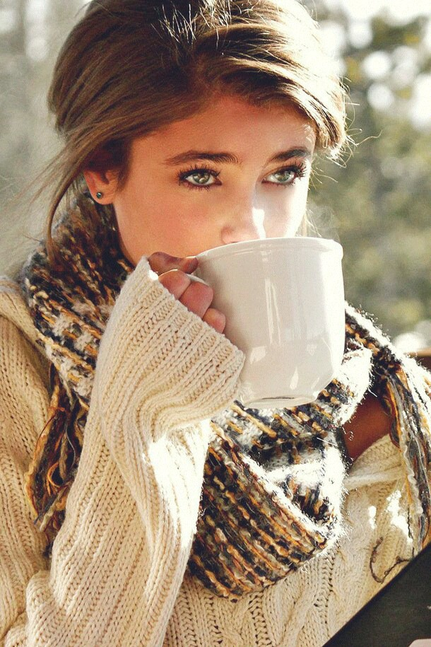 It's fall and time to wear sweaters and enjoy hot cups of coffee.