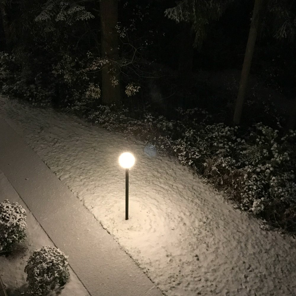 As we go to bed, the first light snowfall begins.