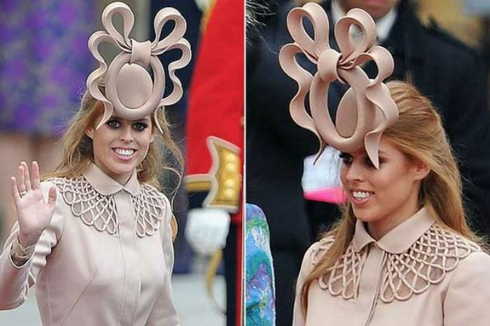 Phlip Traecy hat worn by Princess Beatrice at the wedding of Kate and William in 2011.