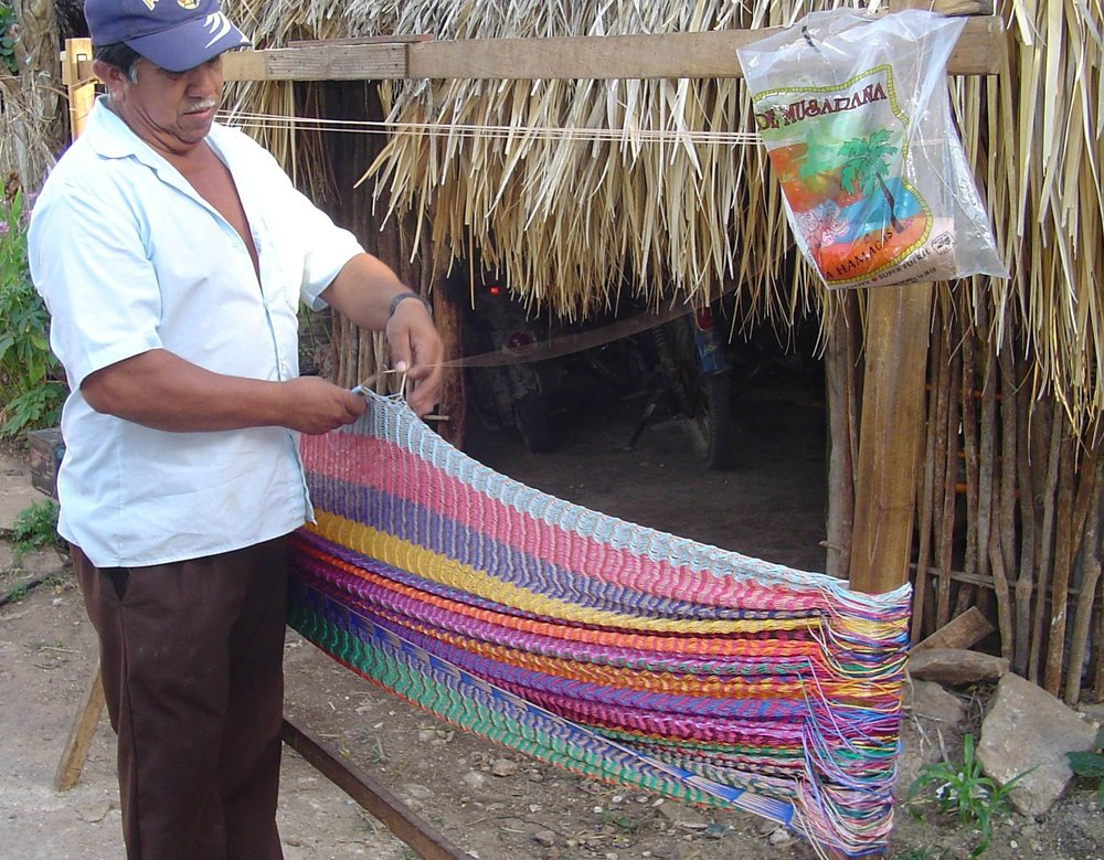 In Mexico, this hammock is woven by hand.