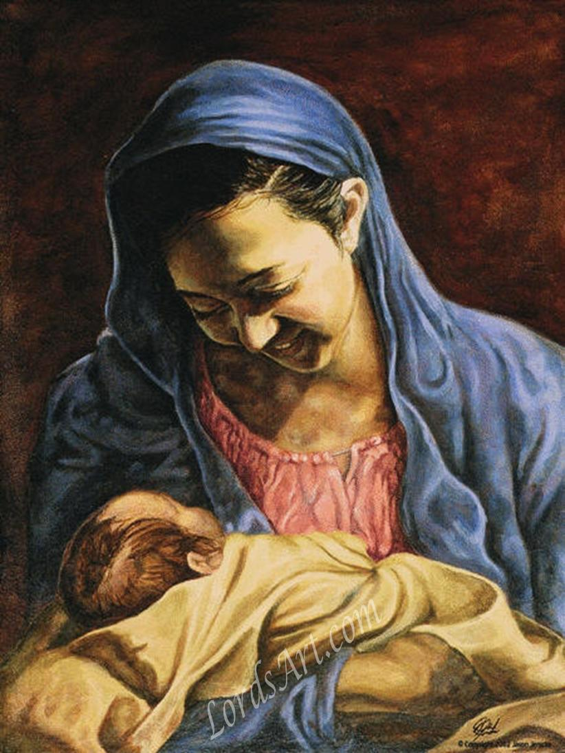 Mary and baby Jesus. Artwork by Jason Jenicke.