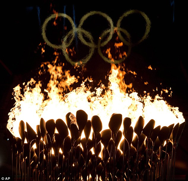 The Olympic Flame burns bright at the 2012 Summer Olympics in London.