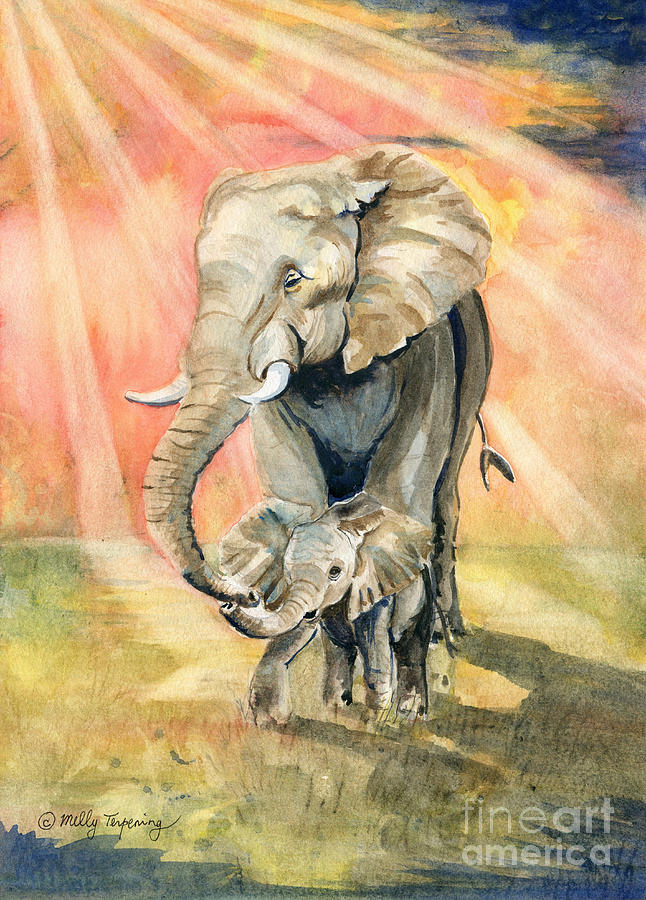 A momma elephant and her baby in the rays of the African sun.