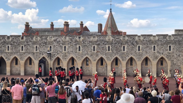 Changing of the Guard at Windsor Castle in England. Pomp and circumstance.