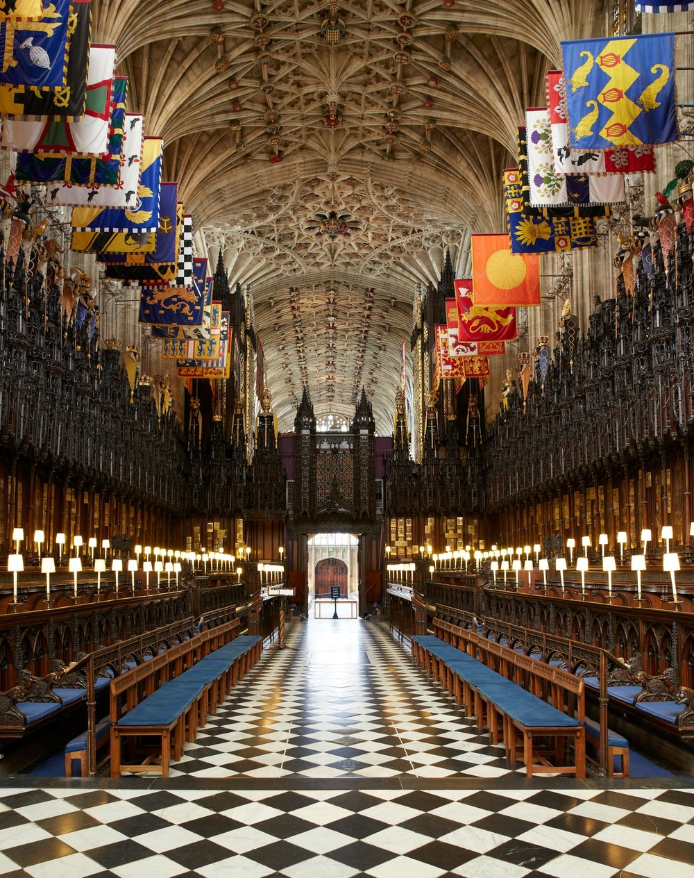 Inside the quire of St George's Chapel at Windsor Castle. Windsor, England.