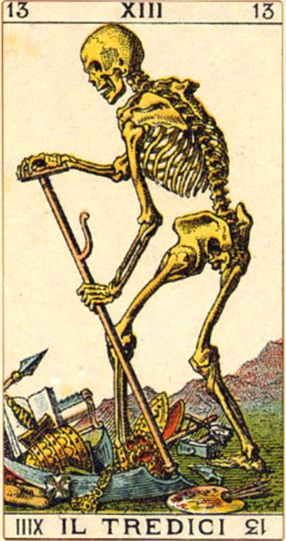 The Death Card in a set of Tarot cards from 1760. It reminds us of impermanence.