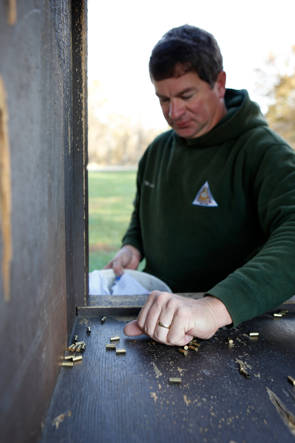 At Rocky Fork Lakes Conservation Area, James is responsible for keeping the shooting range clean of spent casings and destroyed targets. He will occasionally run into scrappers who collect brass casings from the area, which he praises because the metal can be recycled. The range is significantly more busy leading up to and during hunting seasons.