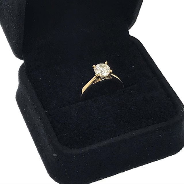 A beautiful custom made yellow gold solitaire ring. @diamondsbydal