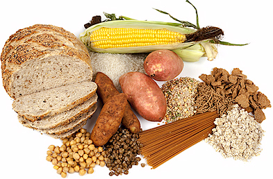 Fruit, vegetables and starches e.g. pasta, rice.