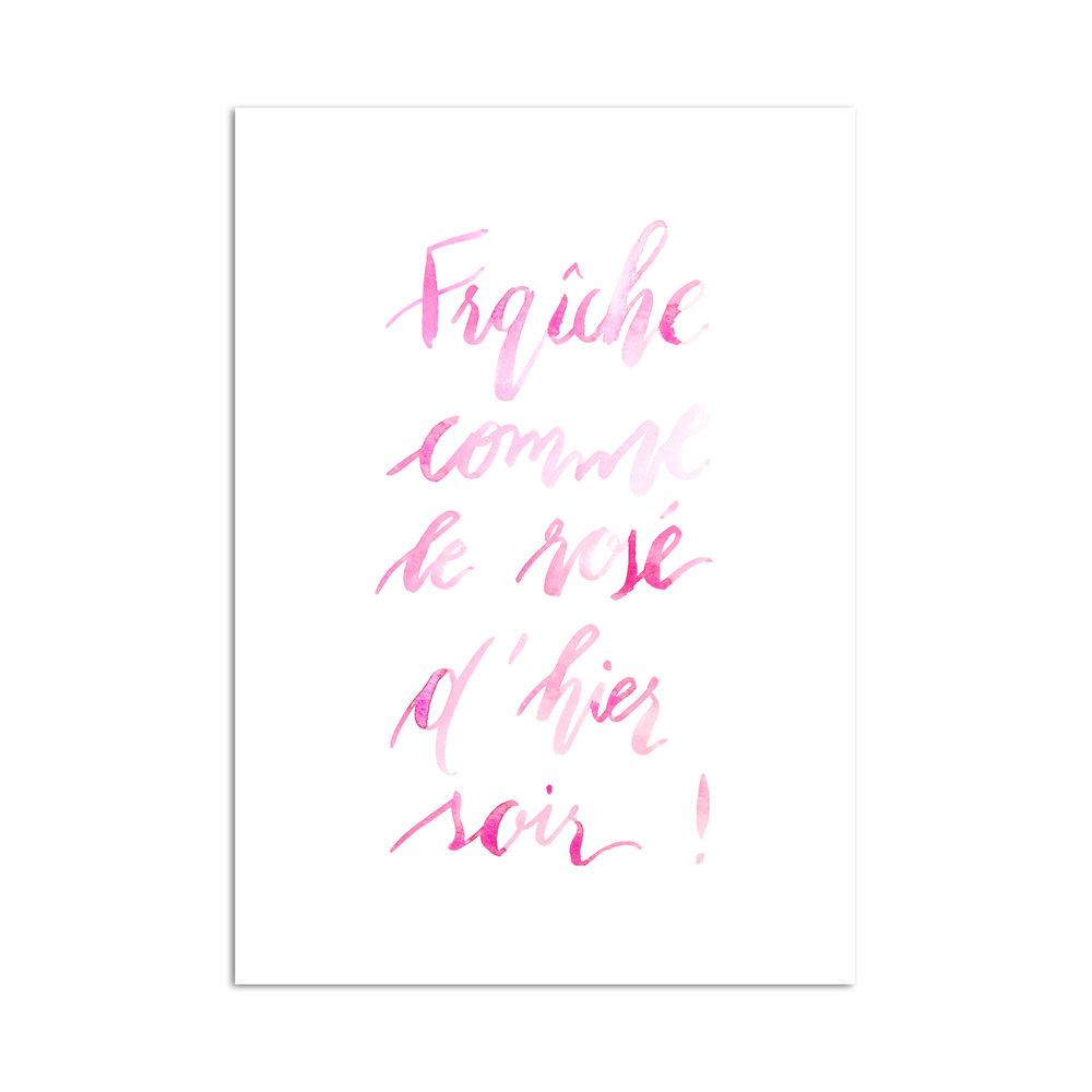 rosé calligraphie aquarelle studio le Héron