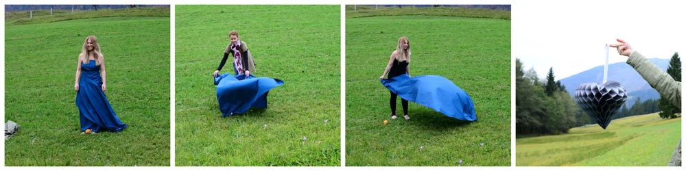 "my model, looking a bit lost; me and her trying to create ""the dress""; shooting the props."