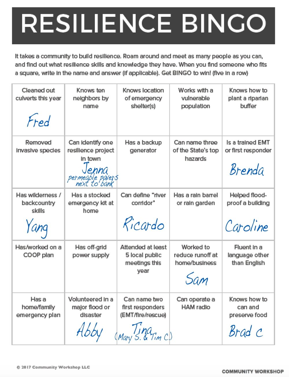 Resilience Bingo was created by community workshop LLc.  DOWNLOAD FOR FREE!