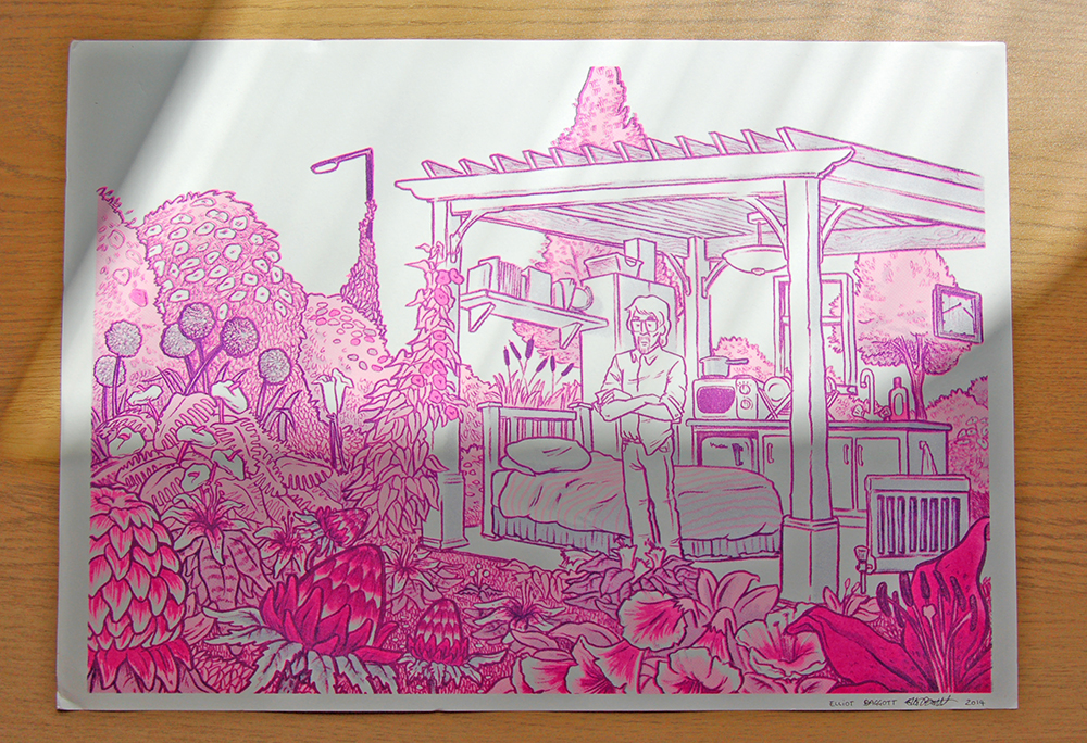 """Steven's Garden"", Risograph print in Flourescent Pink and Purple"