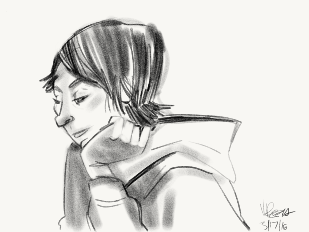 I really liked the way her hand was pressing against her face as well as the lines created by her hoodie.  This one took about 4 minutes.